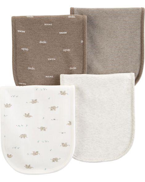 4-Pack Elephant Burp Cloths