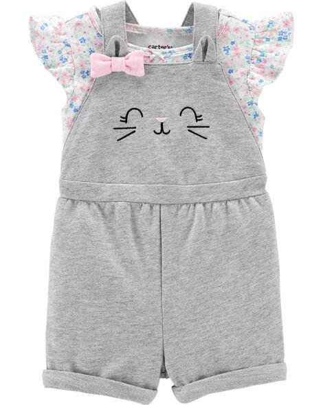Ensemble 2 pièces t-shirt fleuri et salopette courte à chat