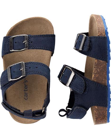 Sandales en liège avec fausses boucles