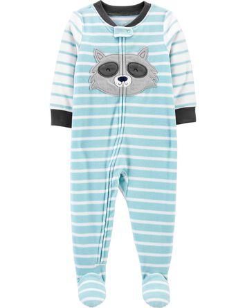1-Piece Raccoon Fleece Footie PJs