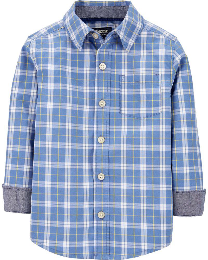 Plaid Button-Front Shirt, , hi-res