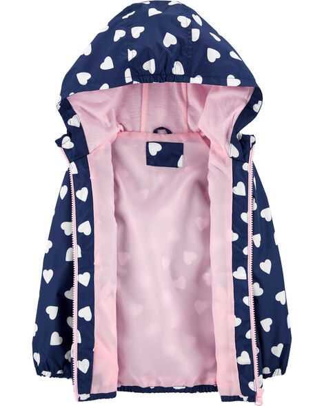 Heart Print Windbreaker Jacket