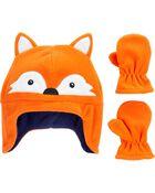 2-Piece Fox Hat & Mittens Set, , hi-res