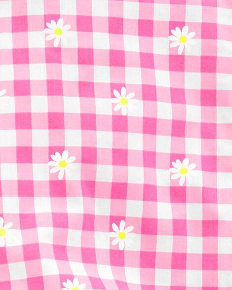 Ensemble 2 pièces haut à motif vichy fleuri et legging en tricot de denim