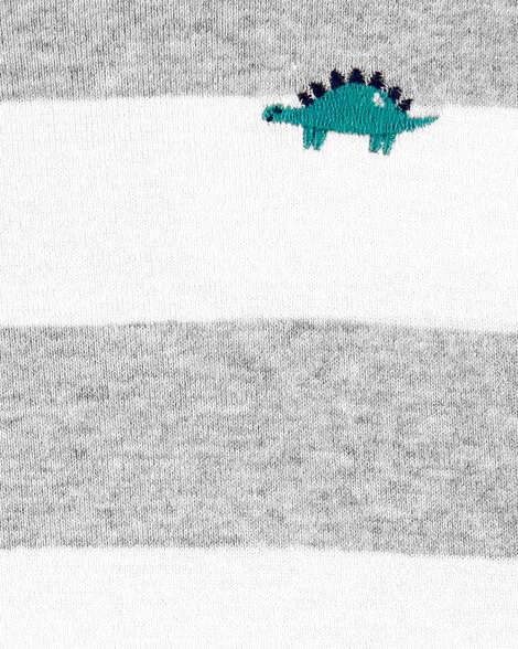 Barboteuse débardeur rayée  à dinosaure