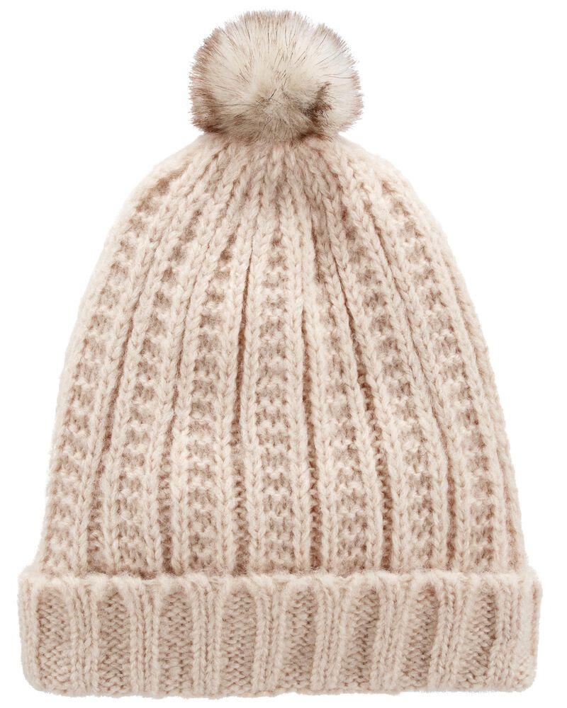 Bonnet en tricot torsadé à pompons, , hi-res