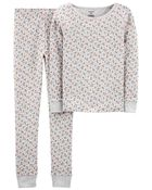 2-Piece Floral Snug Fit Cotton PJs, , hi-res