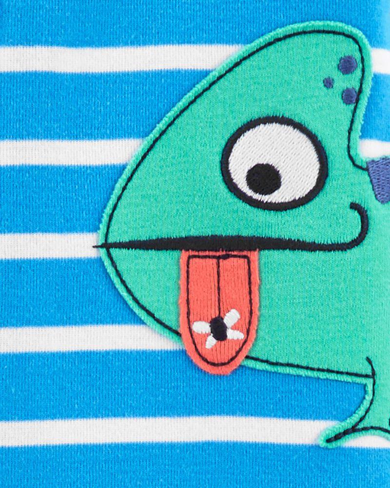 Pyjama 1 pièce à pieds en coton ajusté motif caméléon, , hi-res
