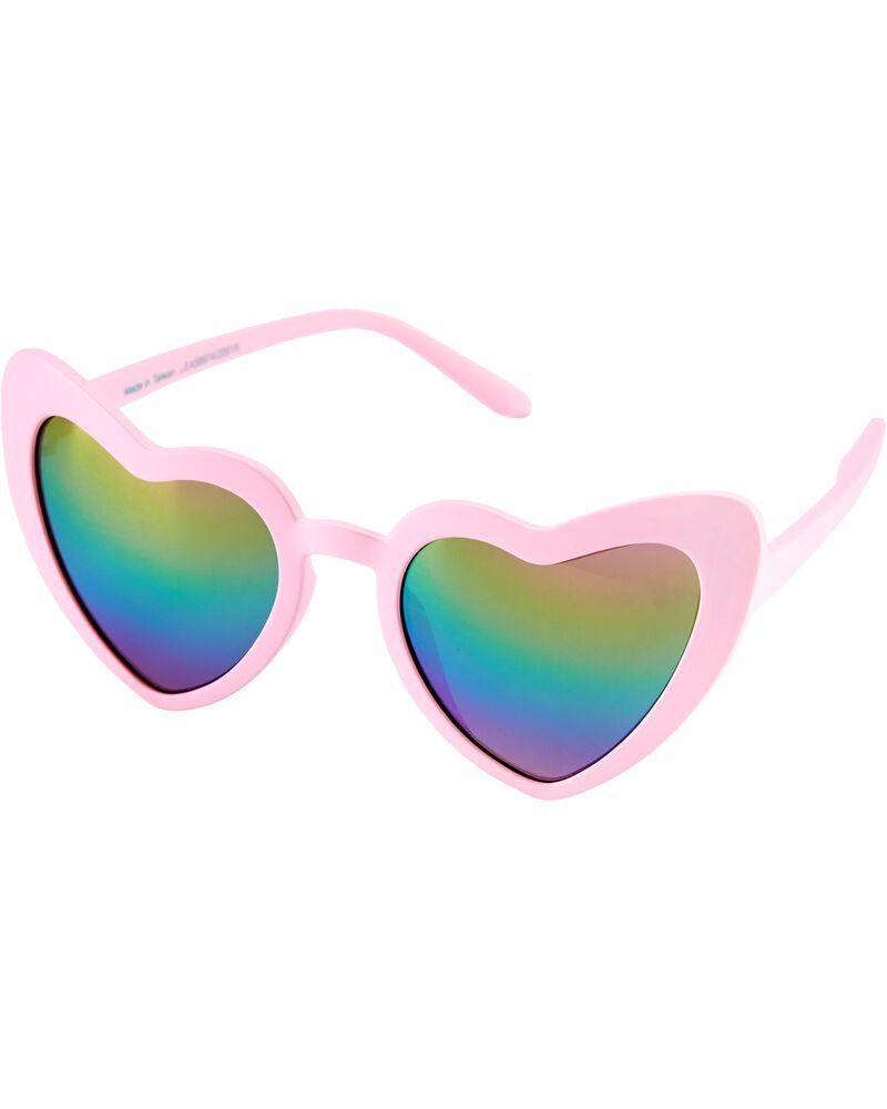Lunettes de soleil à monture rose en forme de cœur, , hi-res