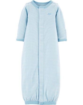 Preemie Striped Cotton Sleeper Gown