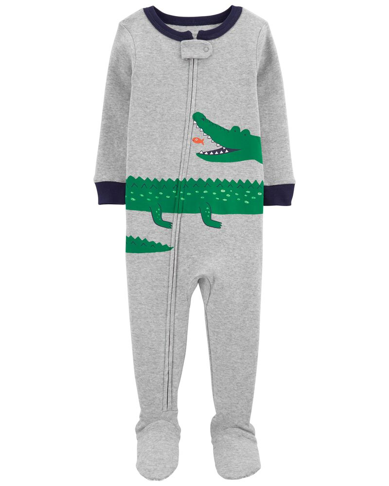 1-Piece Alligator 100% Snug Fit Cotton Footie PJs, , hi-res
