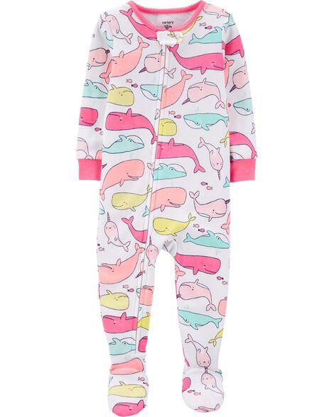 Pyjama 1 pièce en coton ajusté à motif baleine