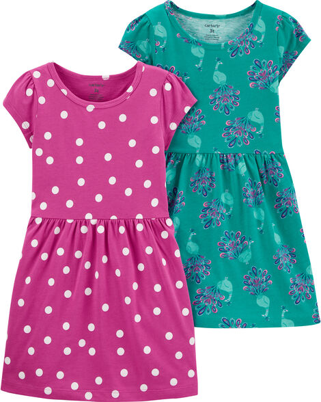 2-Pack Polka Dots & Peacock Jersey Dresses