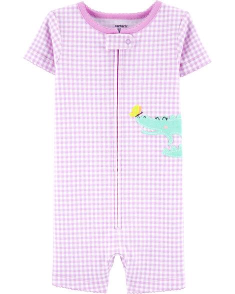 Pyjama barboteuse 1 pièce en coton ajusté à motif vichy et alligator
