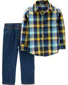 2-Piece Button-Front Top & Denim Pant Set, , hi-res