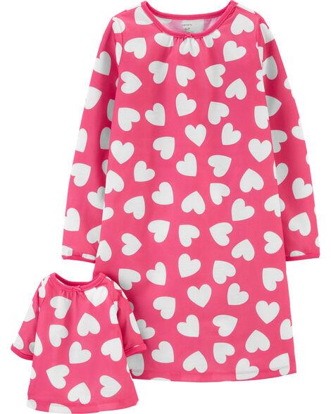 Emballage de 2 robes de nuit coordonnées pour elle et sa poupée