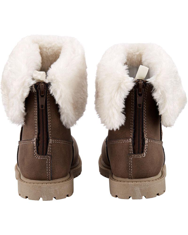Faux Fur Foldover Boots, , hi-res