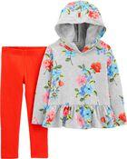 2-Piece Floral Peplum Pullover & Legging Set, , hi-res