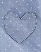 Ensemble 2 pièces haut en chambray à cœur et legging, , hi-res