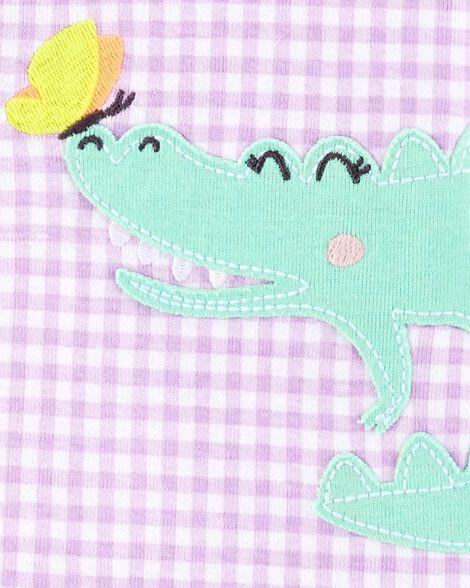 1-Piece Gingham Alligator Snug Fit Cotton Footless PJs