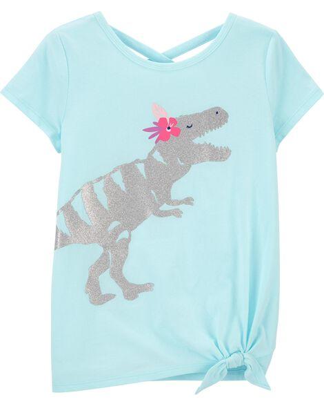 T-shirt en jersey à nœud devant et dinosaure scintillant