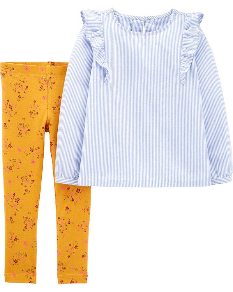 2-Piece Striped Top & Floral Legging Set, , hi-res