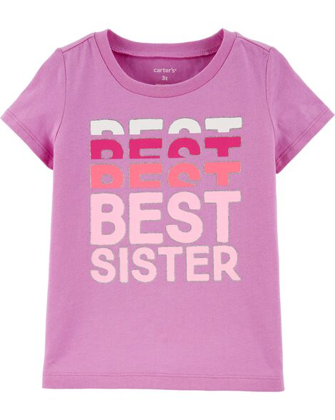Glitter Best Sister Jersey Tee