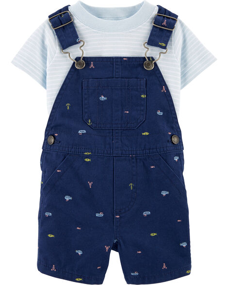 2-Piece Striped Tee & Nautical Shortalls Set