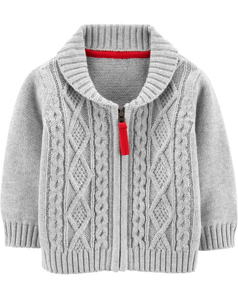 Zip-Up Cable Knit Sweater