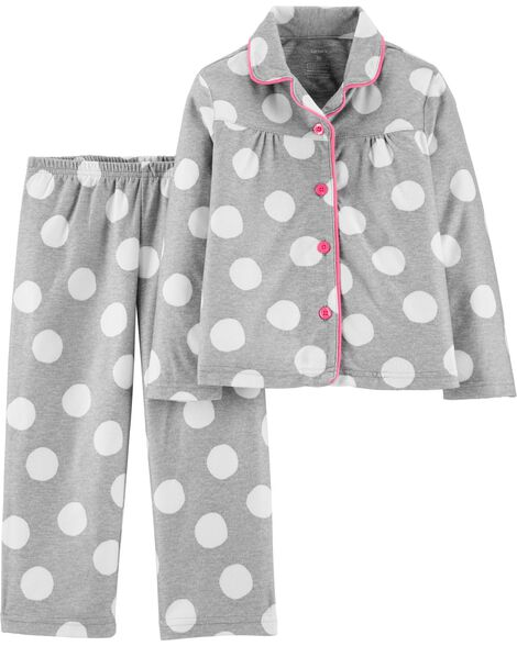 2-Piece Polka Dot Coat Style Fleece PJs