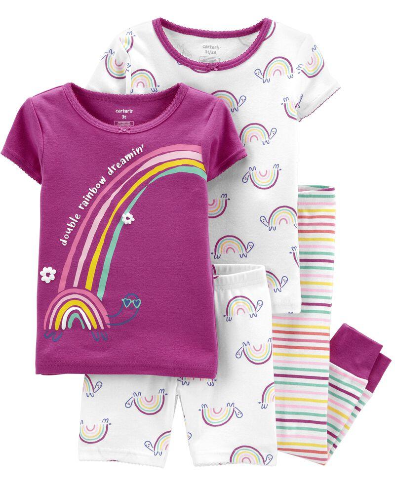 4-Piece Rainbow 100% Snug Fit Cotton PJs, , hi-res