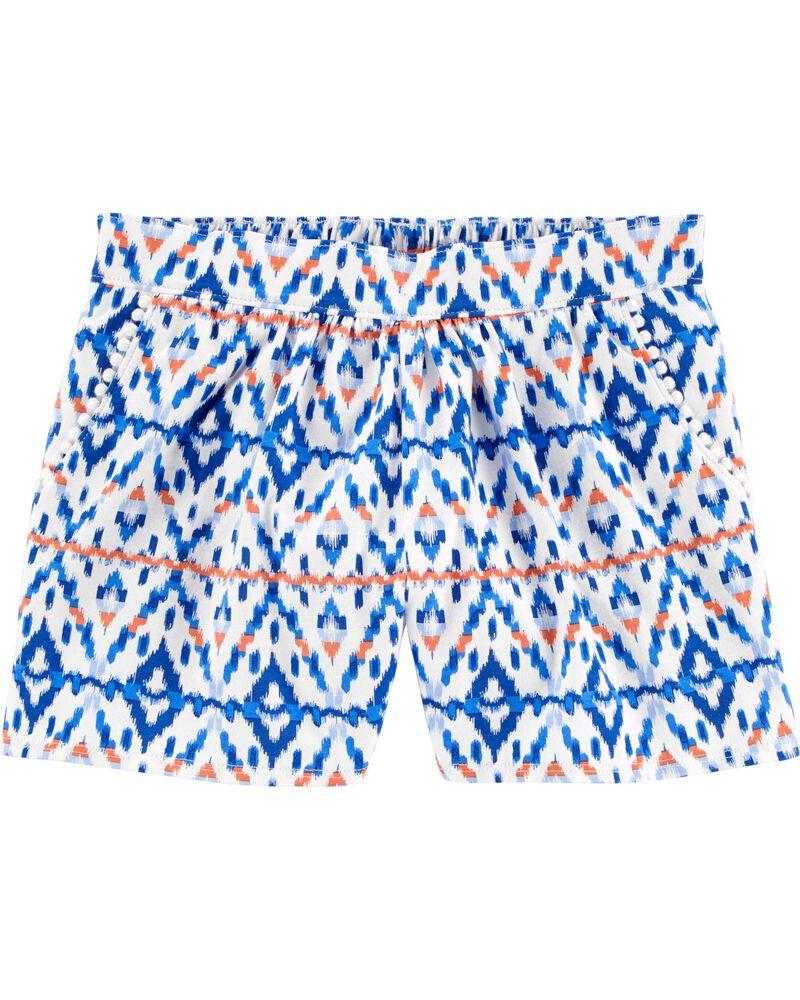 Short à enfiler à imprimé ikat et poches avec bordure à pompons , , hi-res