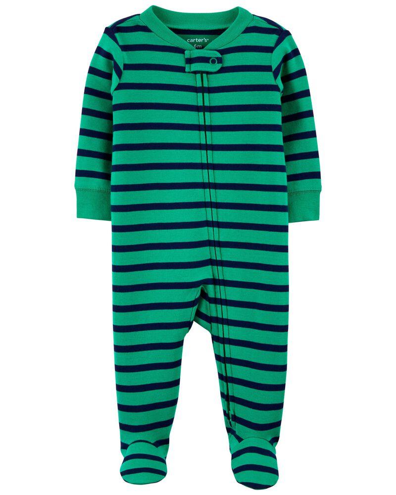 Striped 2-Way Zip Cotton Sleep & Play, , hi-res