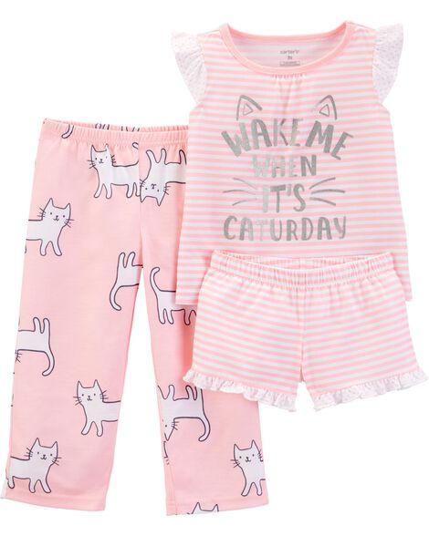 Pyjama 3 pièces en polyester avec chat