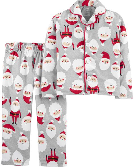 2-Piece Santa Coat Style Fleece PJ Set