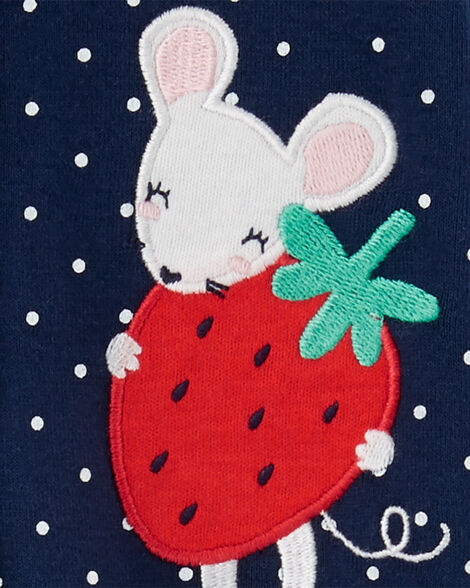 Strawberry Mouse Snap-Up Cotton Footless Sleep & Play