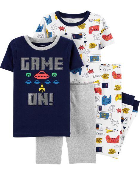 4-Piece Video Game Snug Fit Cotton PJs
