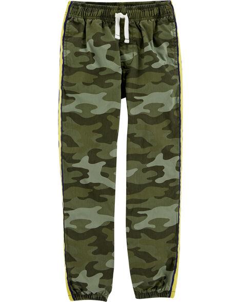 Pantalon en popeline à enfiler motif camouflage
