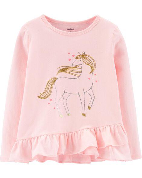 T-shirt en jersey volanté à licorne