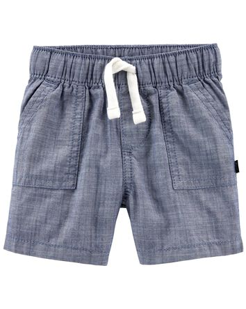 Short à enfiler en chambray