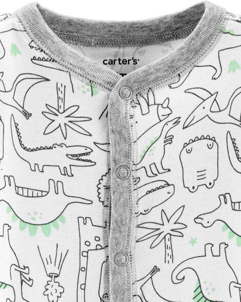 Grenouillère en coton pour dormir et jouer avec boutons-pression et motif dinosaure