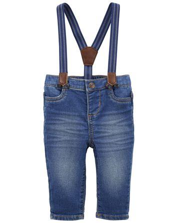 Knit Denim Suspender Pants