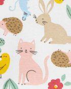 3-Piece Animal Print Tee & Denim Jumper Set, , hi-res