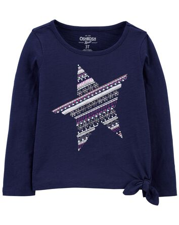 Tie-Hem Snow Star Top
