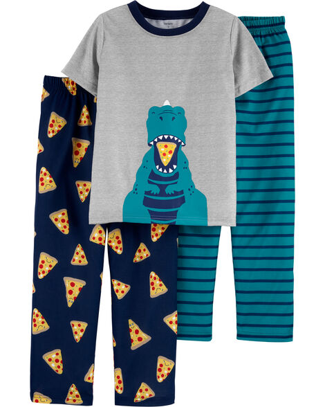 3-Piece Pizza Dinosaur Poly PJs