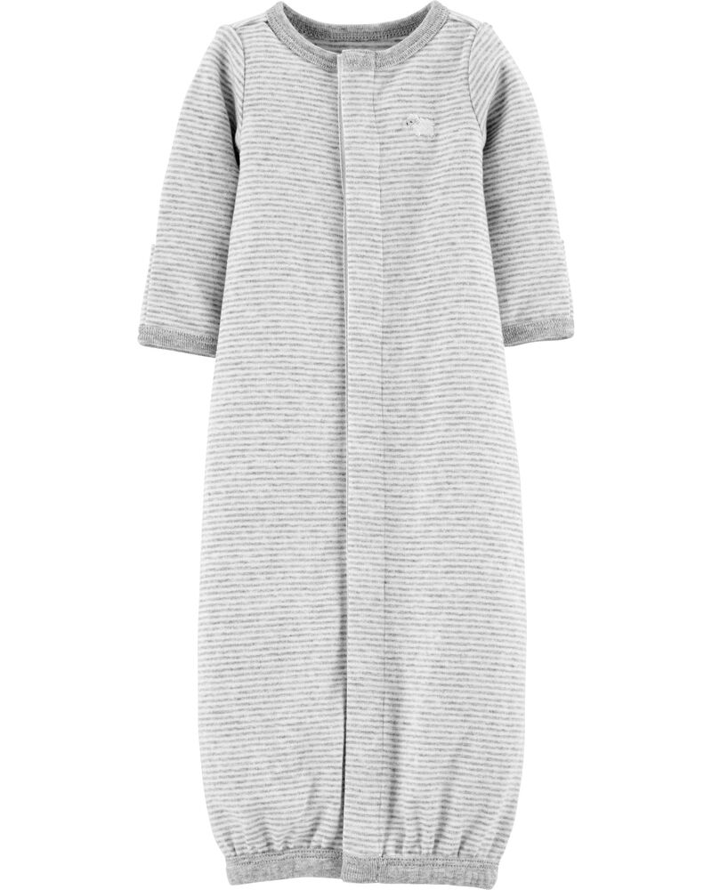 Preemie Striped Cotton Sleeper Gown, , hi-res