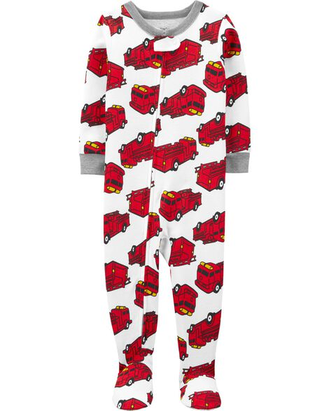 1-Piece Firetruck Snug Fit Cotton Footie PJs
