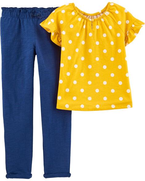 2-Piece Polka Dot Top & Slub Jersey Pant Set