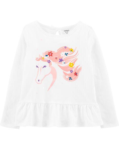T-shirt en jersey à cheval fleuri et basque