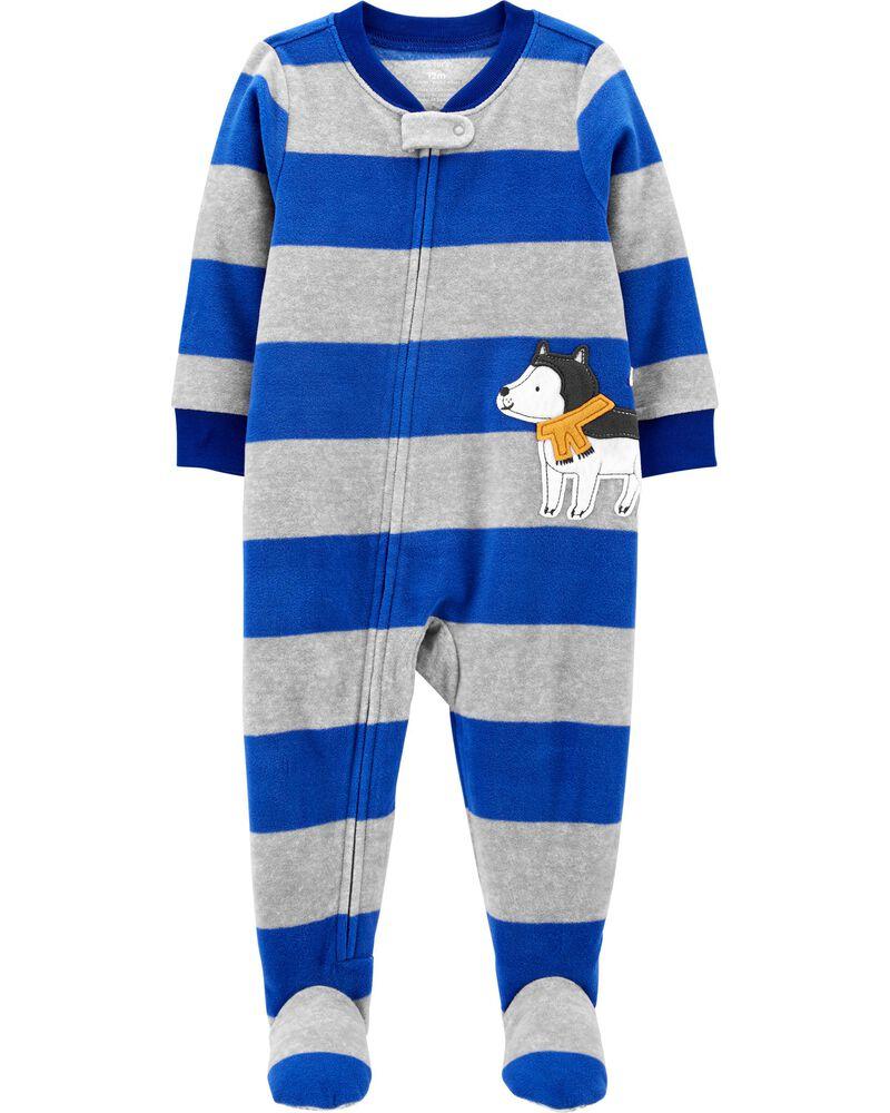 Pyjama 1 pièce à pieds en molleton chien, , hi-res